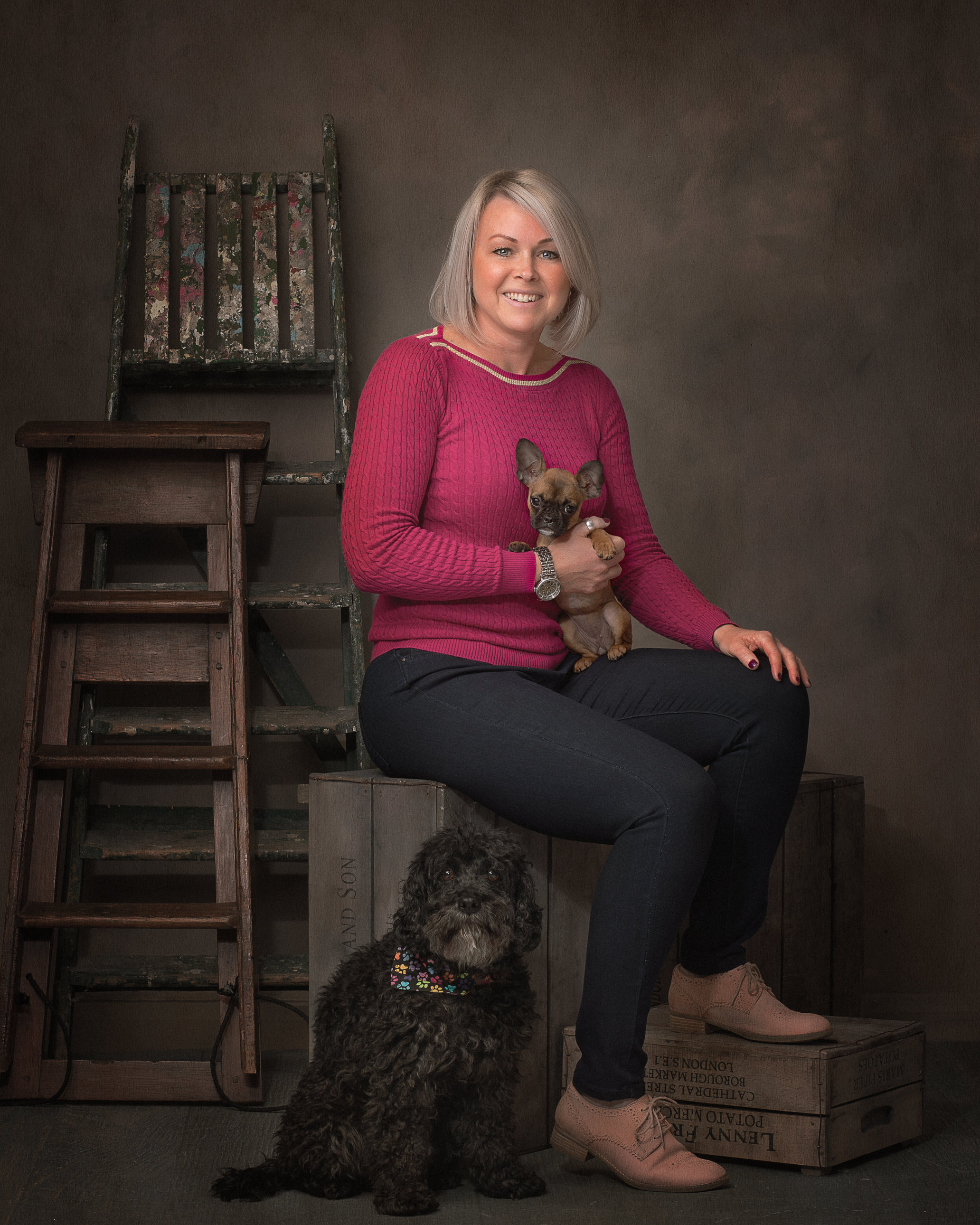 pet portrait owner with two dogs by Portrait photographer Preston