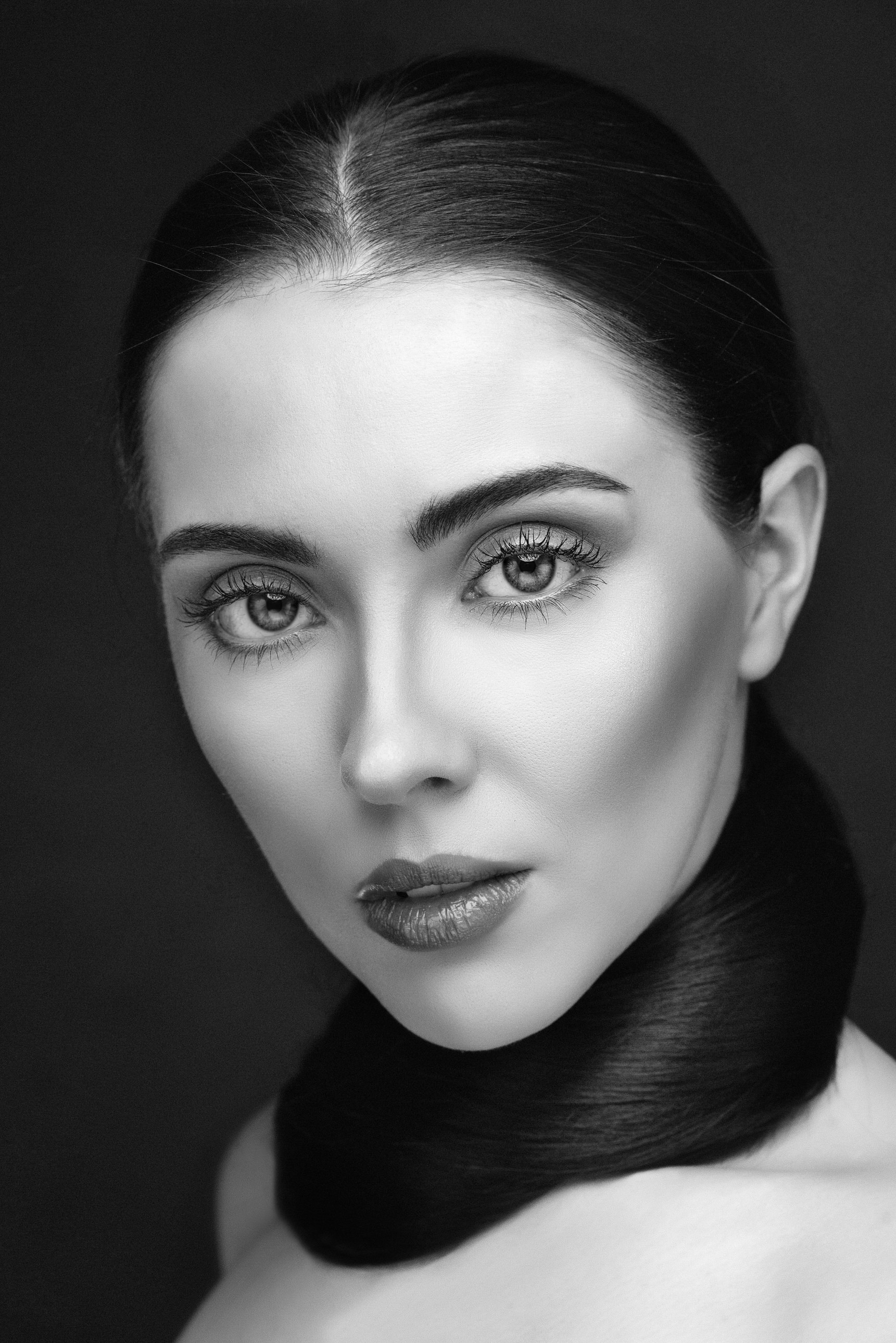 Close-up headshot in black and shite by Boudoir Photographer Lancashire