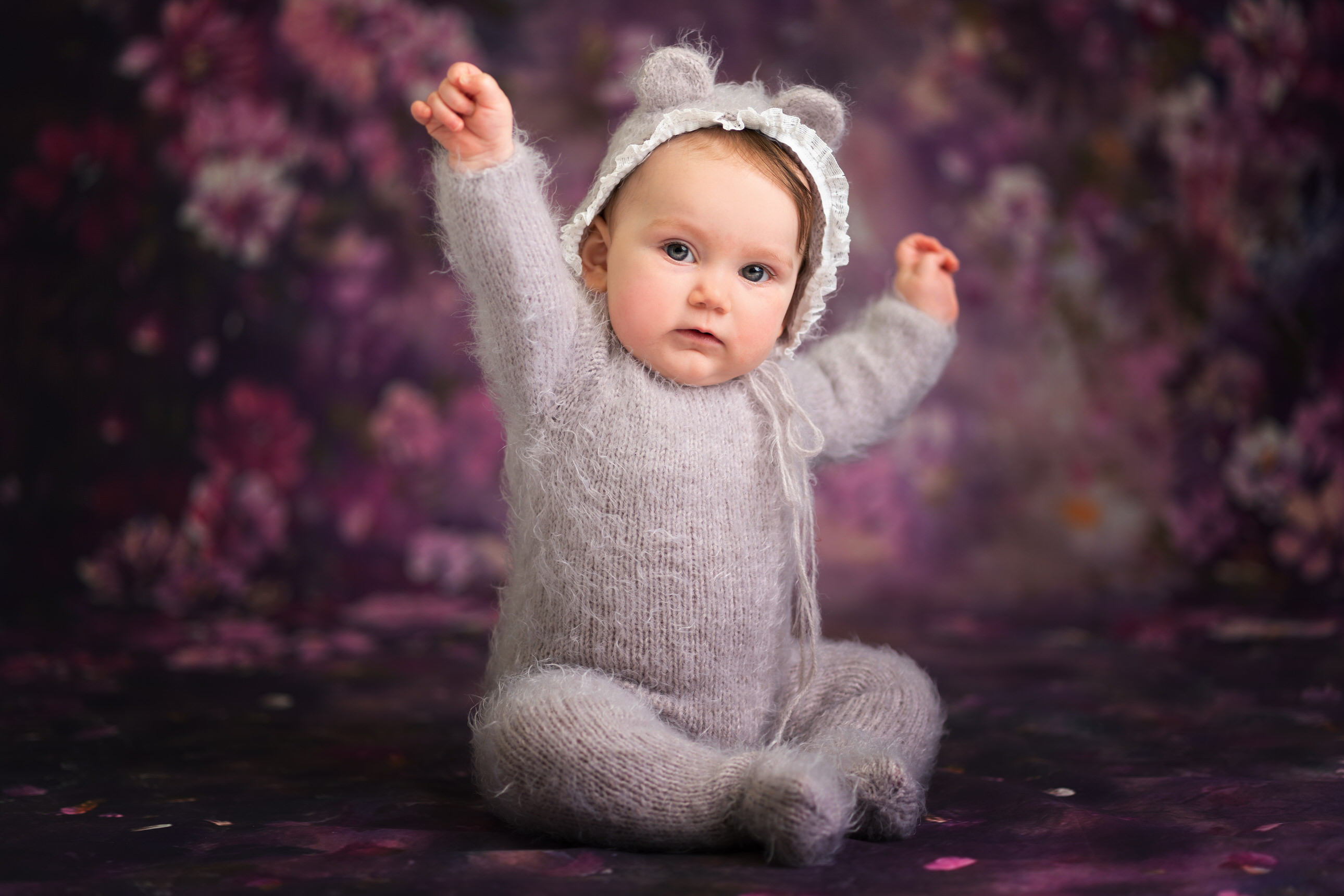 baby portrait in purple by Portrait photographer Preston