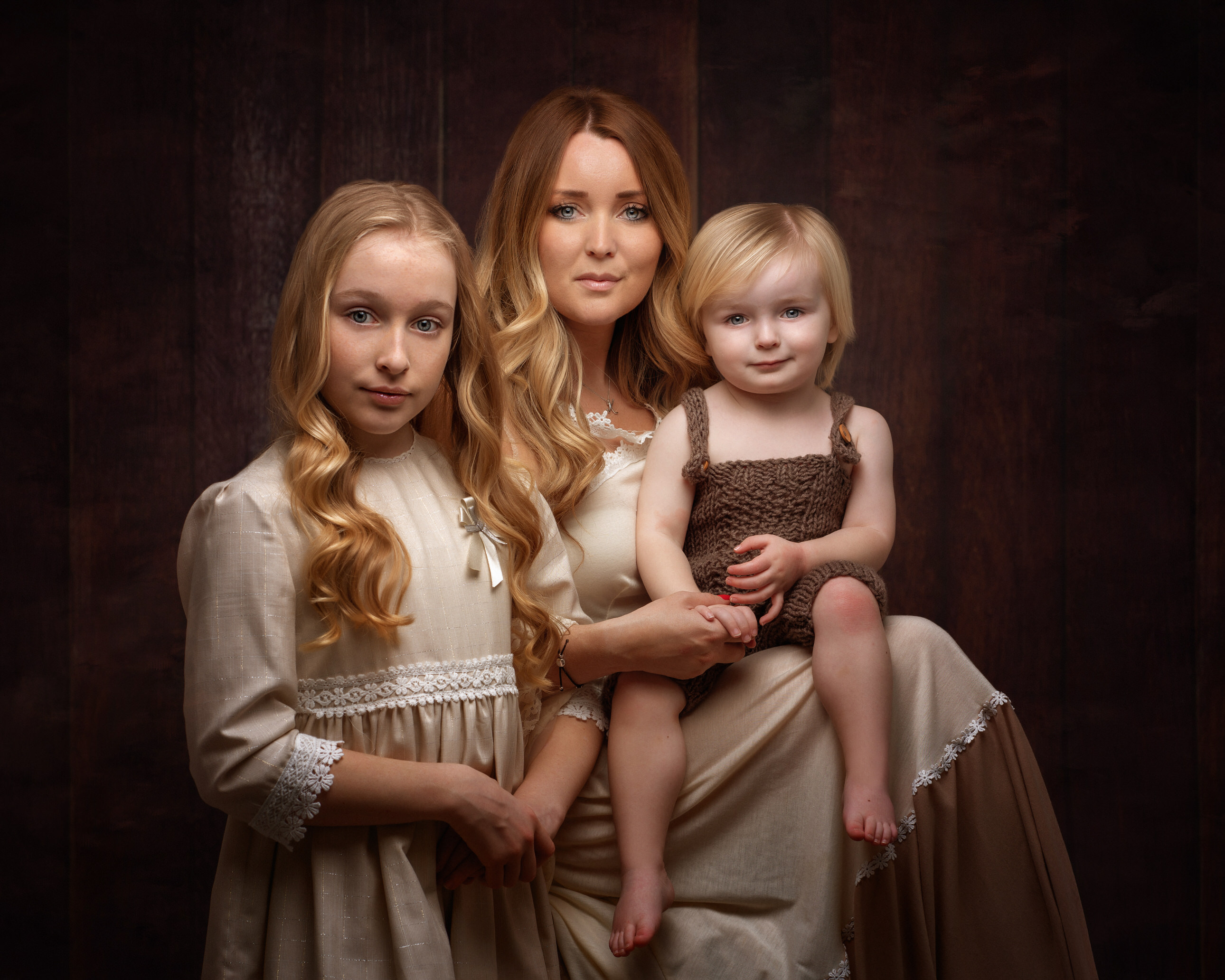 BEautiful fine art portrait of mum with children by Family photographer Lancashire