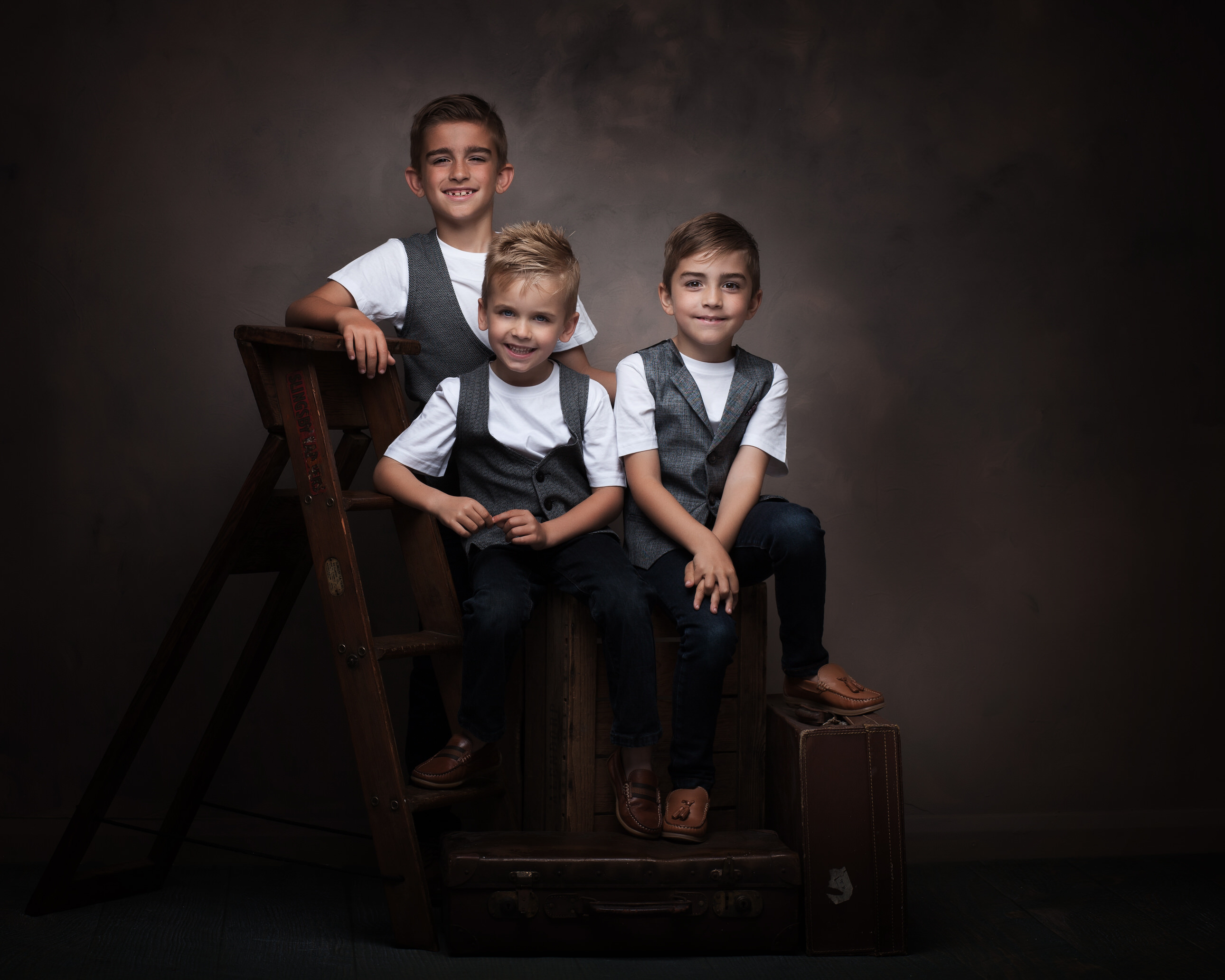 Three boys in studio fine art childrens photograph by Family photographer Lancashire