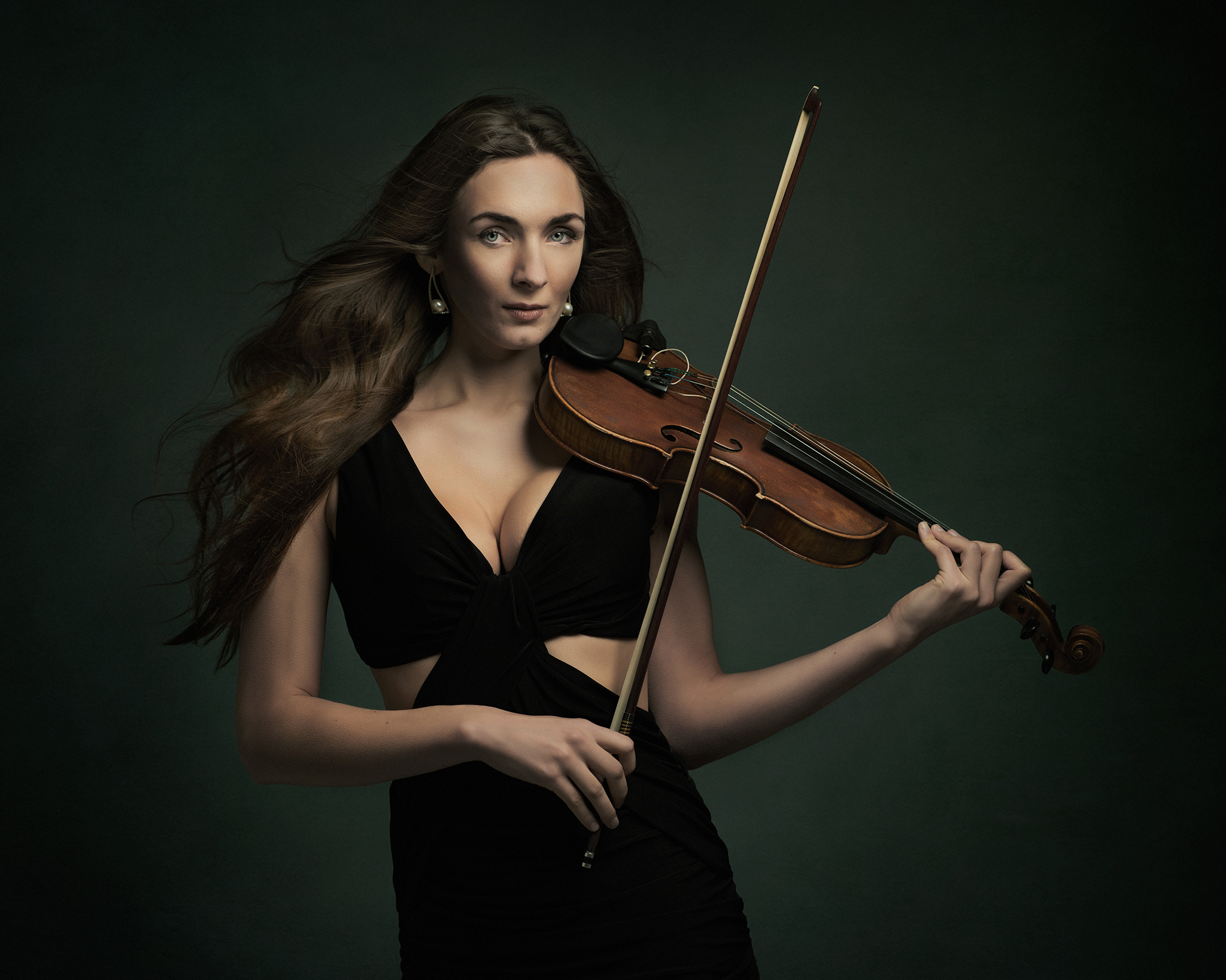 Fashion shoot model with violin by Boudoir Photographer Lancashire
