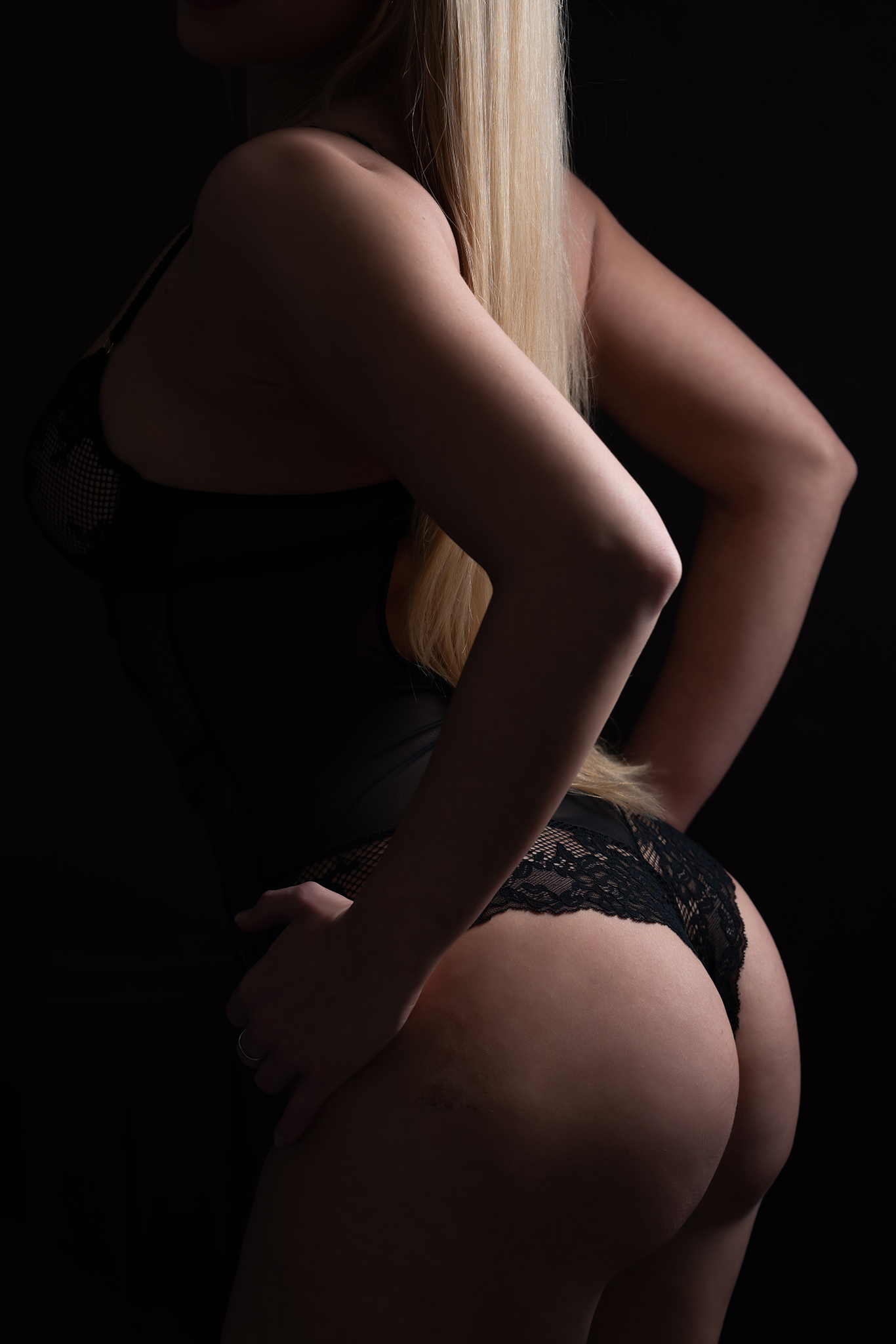 Closeup of blonde model black thong by Boudoir Photographer Lancashire