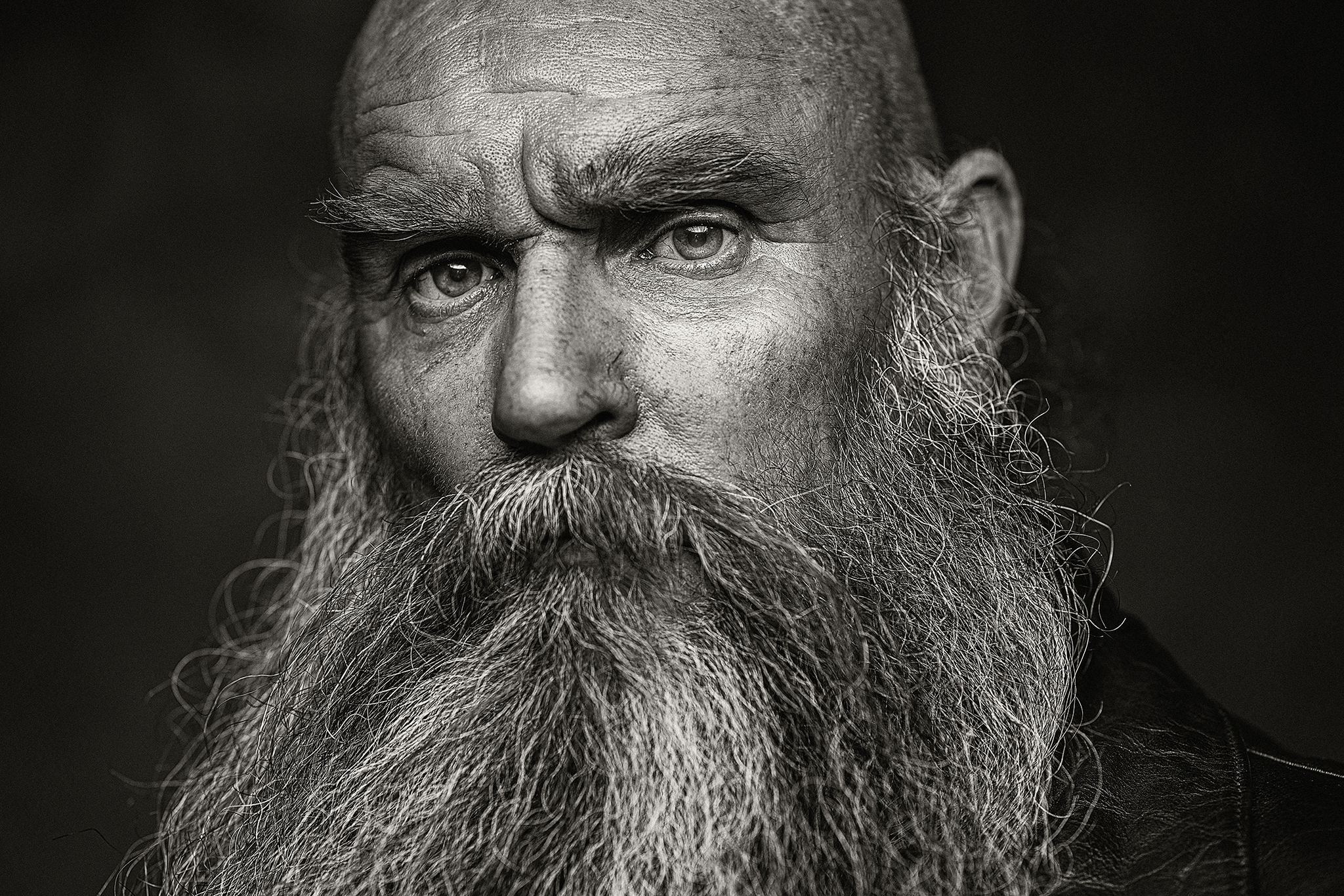 Older man with beard headshot by Portrait photographer Preston