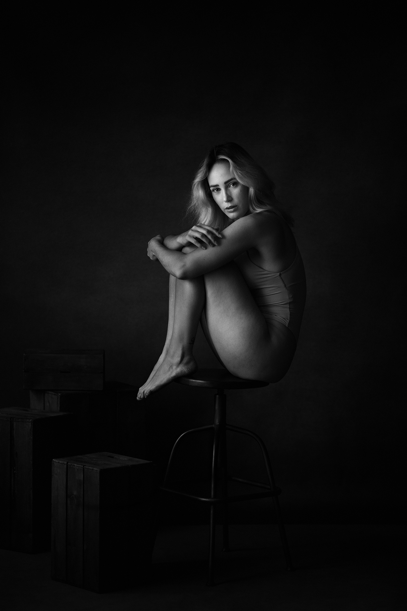 black and white naked photoshoot by Boudoir Photographer Lancashire
