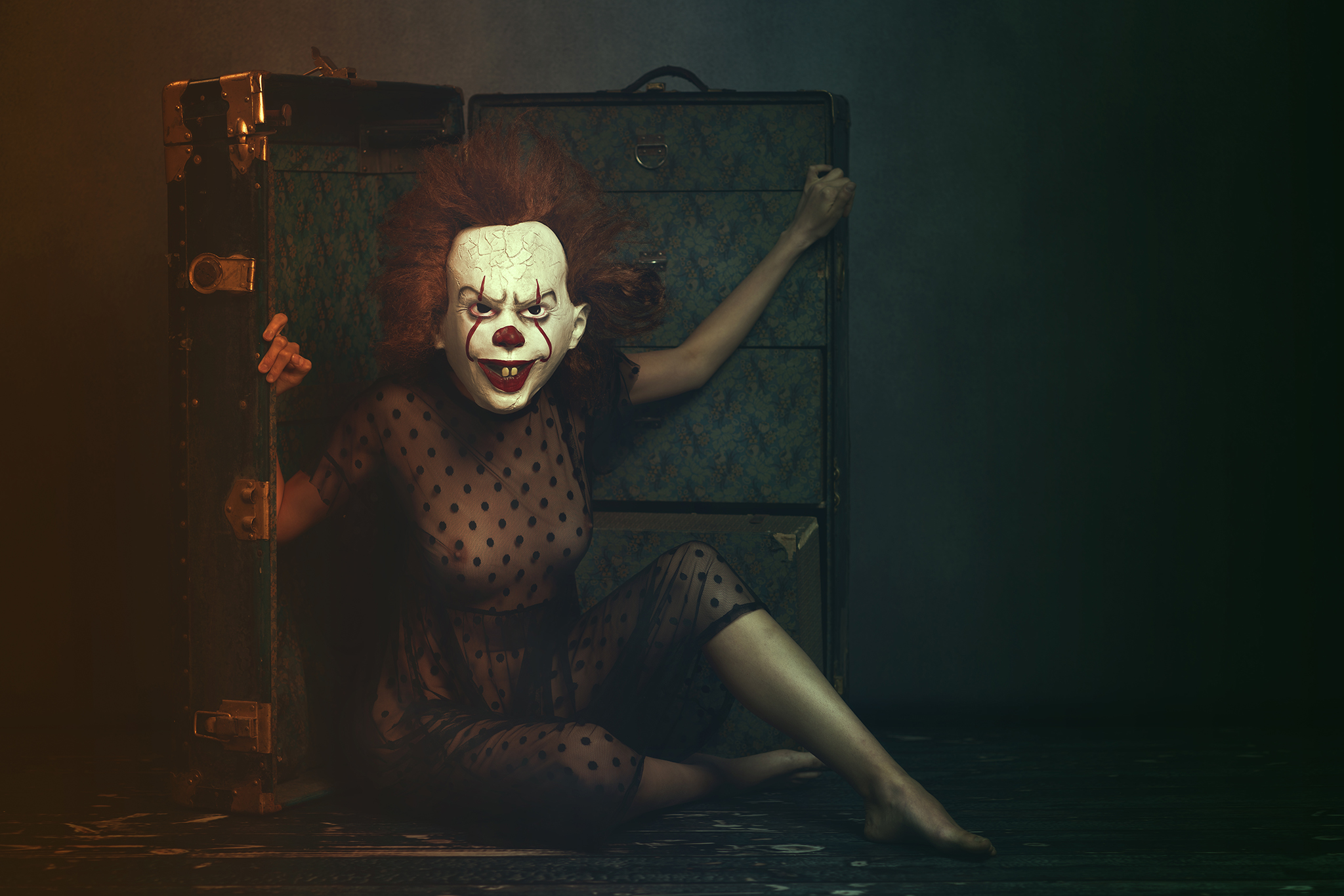 gothic clown fun portrait shoot by Portrait photographer Preston