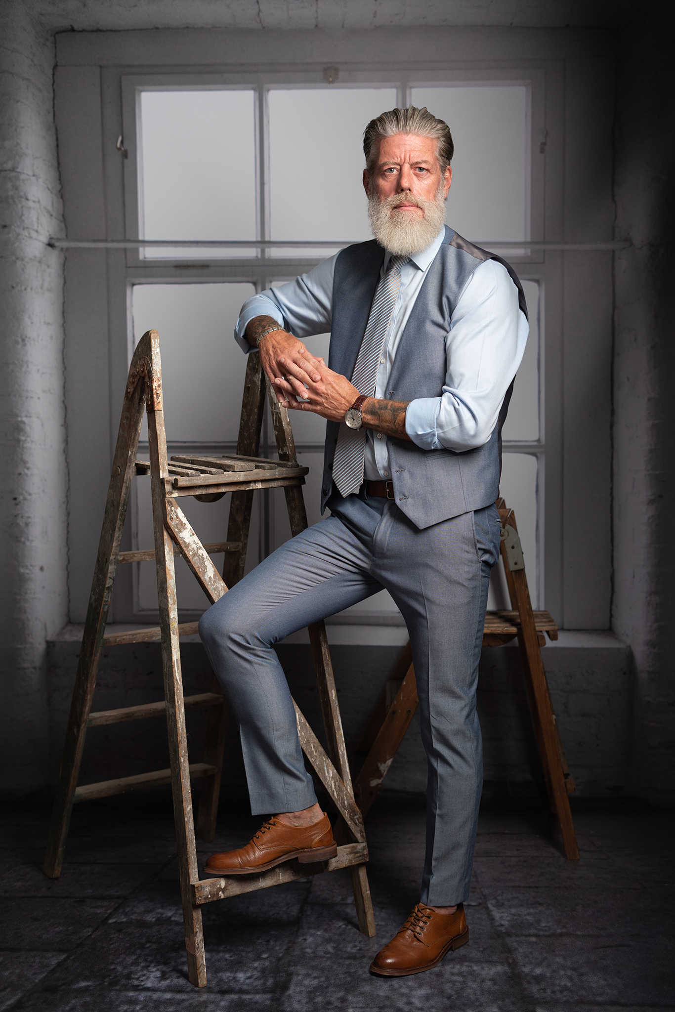 older male model in headshot branding shoot by Portrait photographer Preston