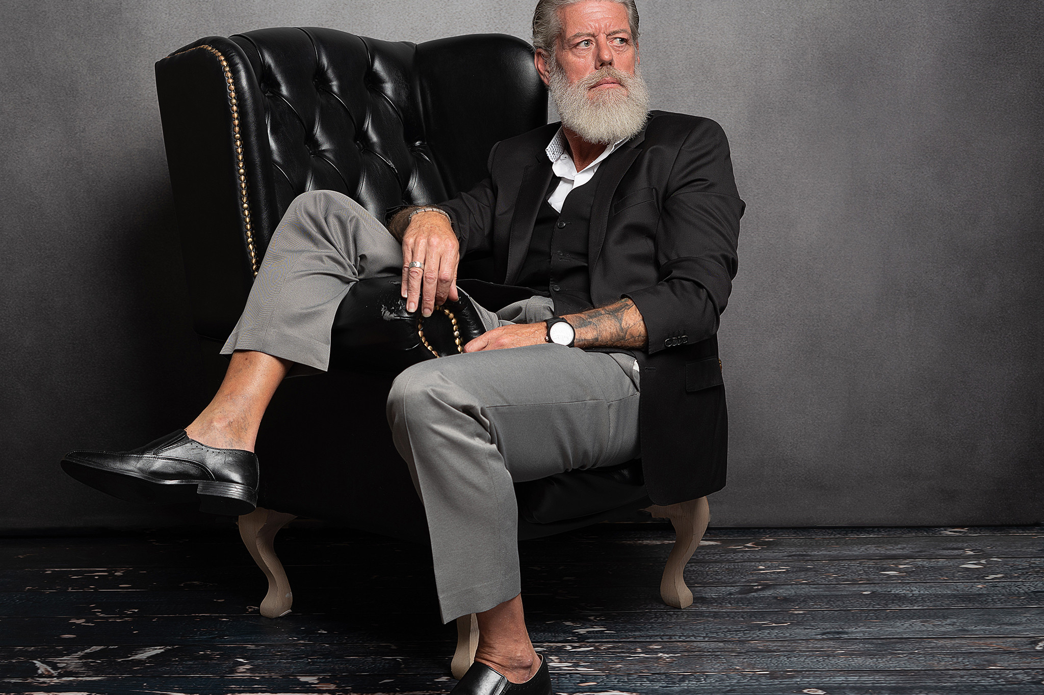 older male model in studio shoot by timeless Portrait photographer Preston