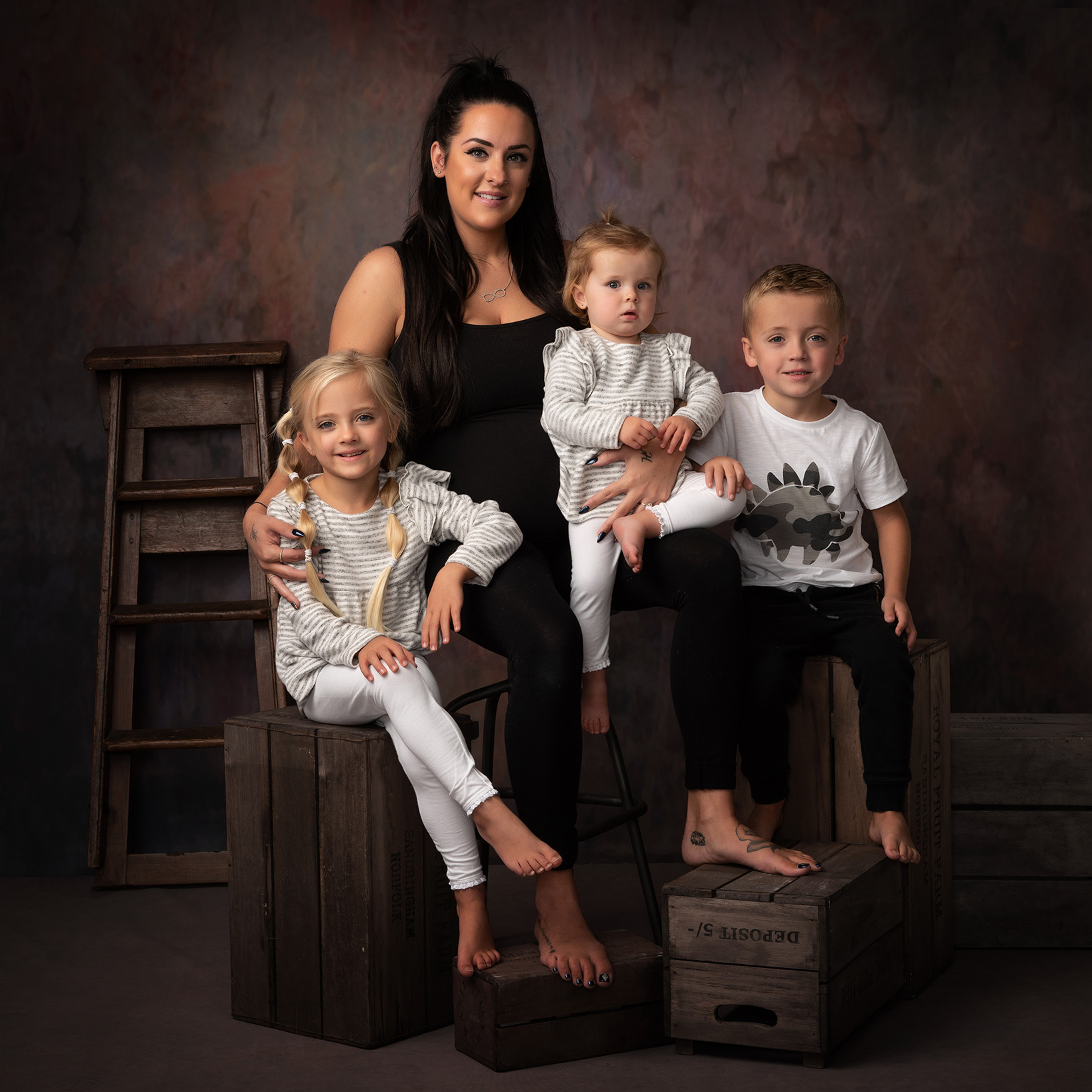 mum with children studio portrait by Family photographer Lancashire