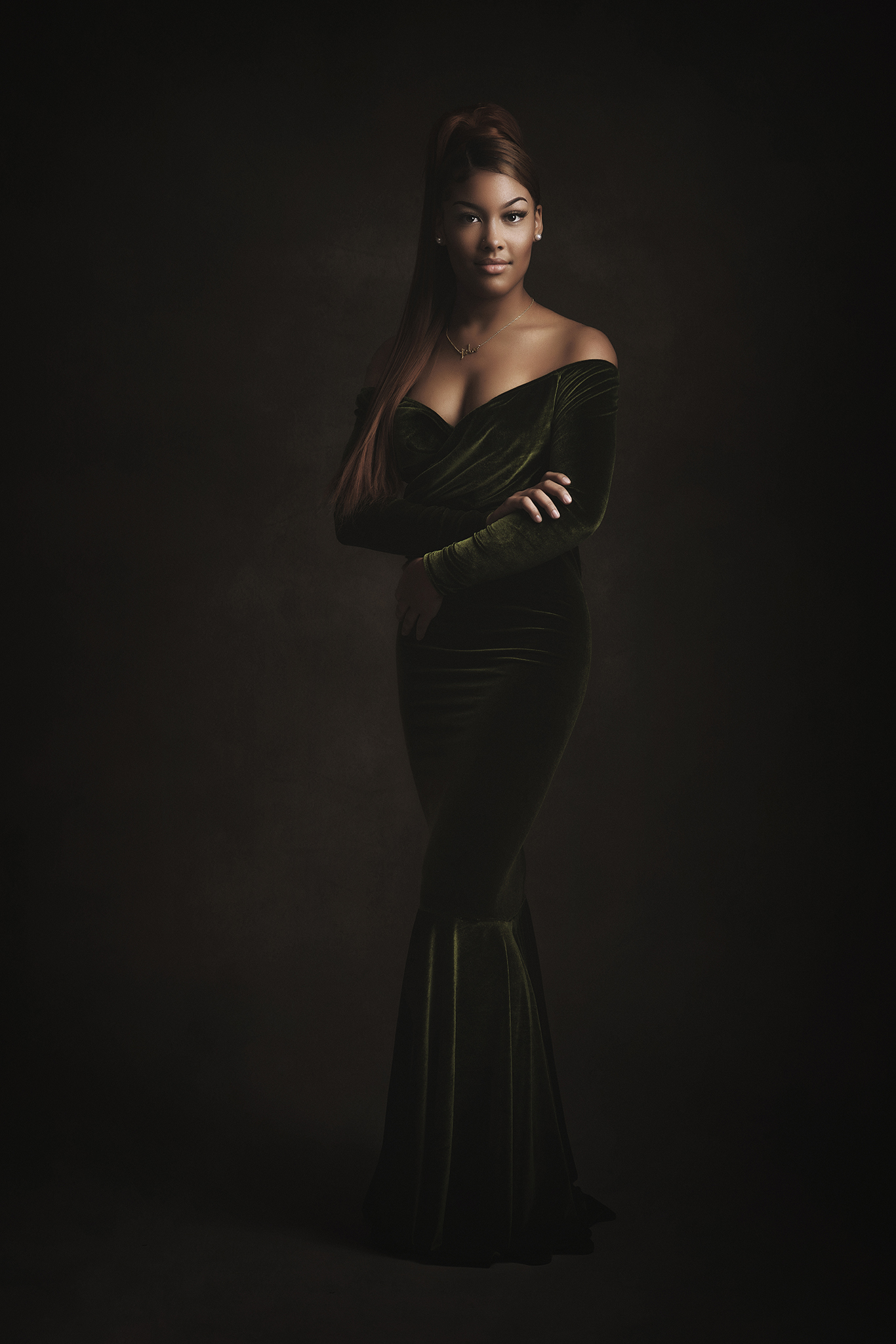 beautiful black model in evening dress in studio shoot by Portrait photographer Preston