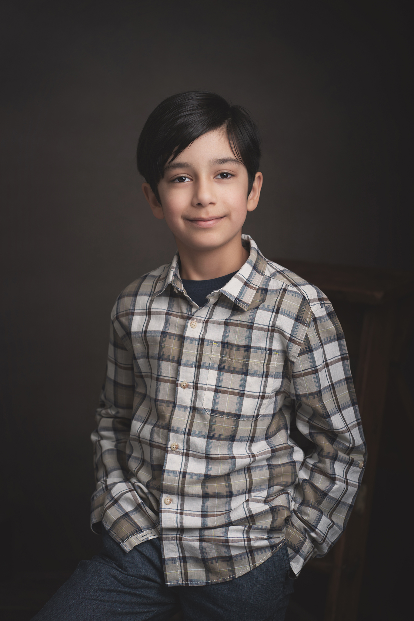 young boy in studio portrait by Family photographer Lancashire