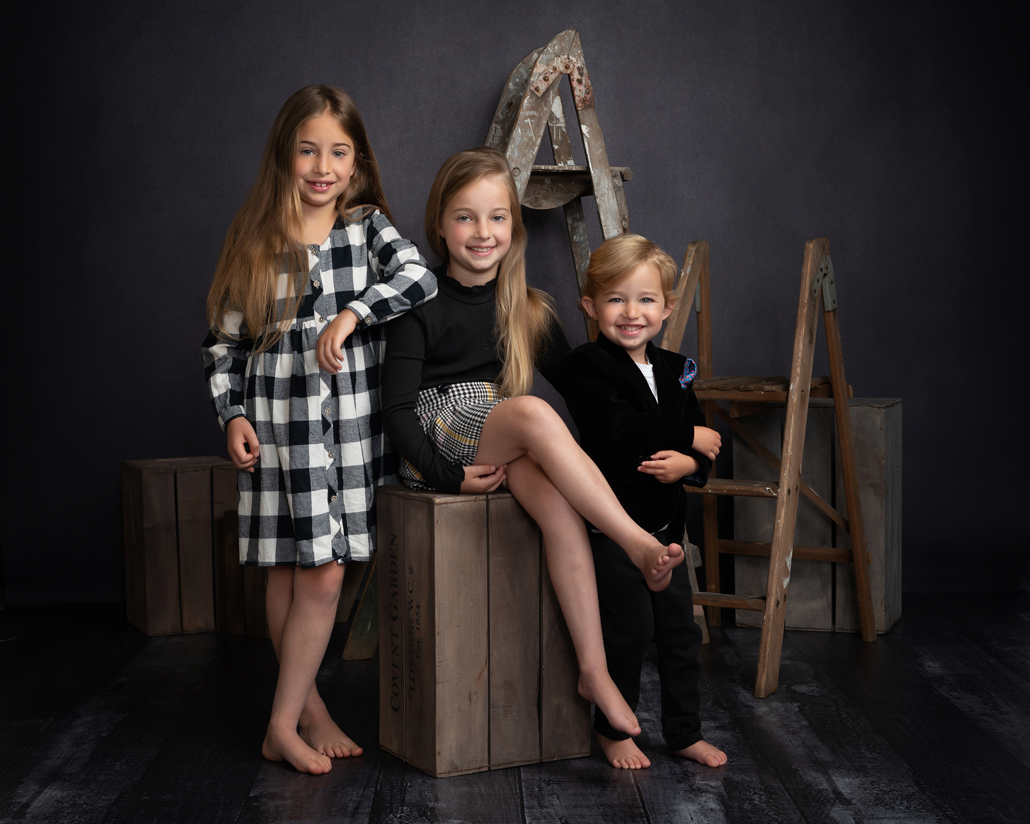 three children studio portrait by Family photographer Lancashire