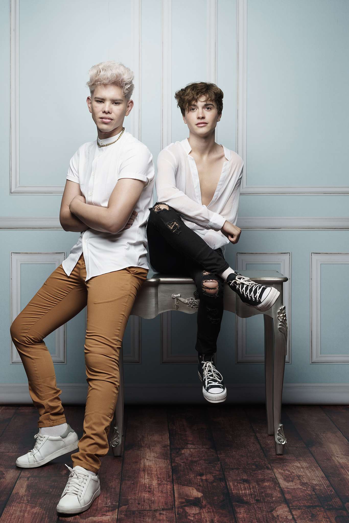 two teenage boys in studio photograph by Family photographer Lancashire