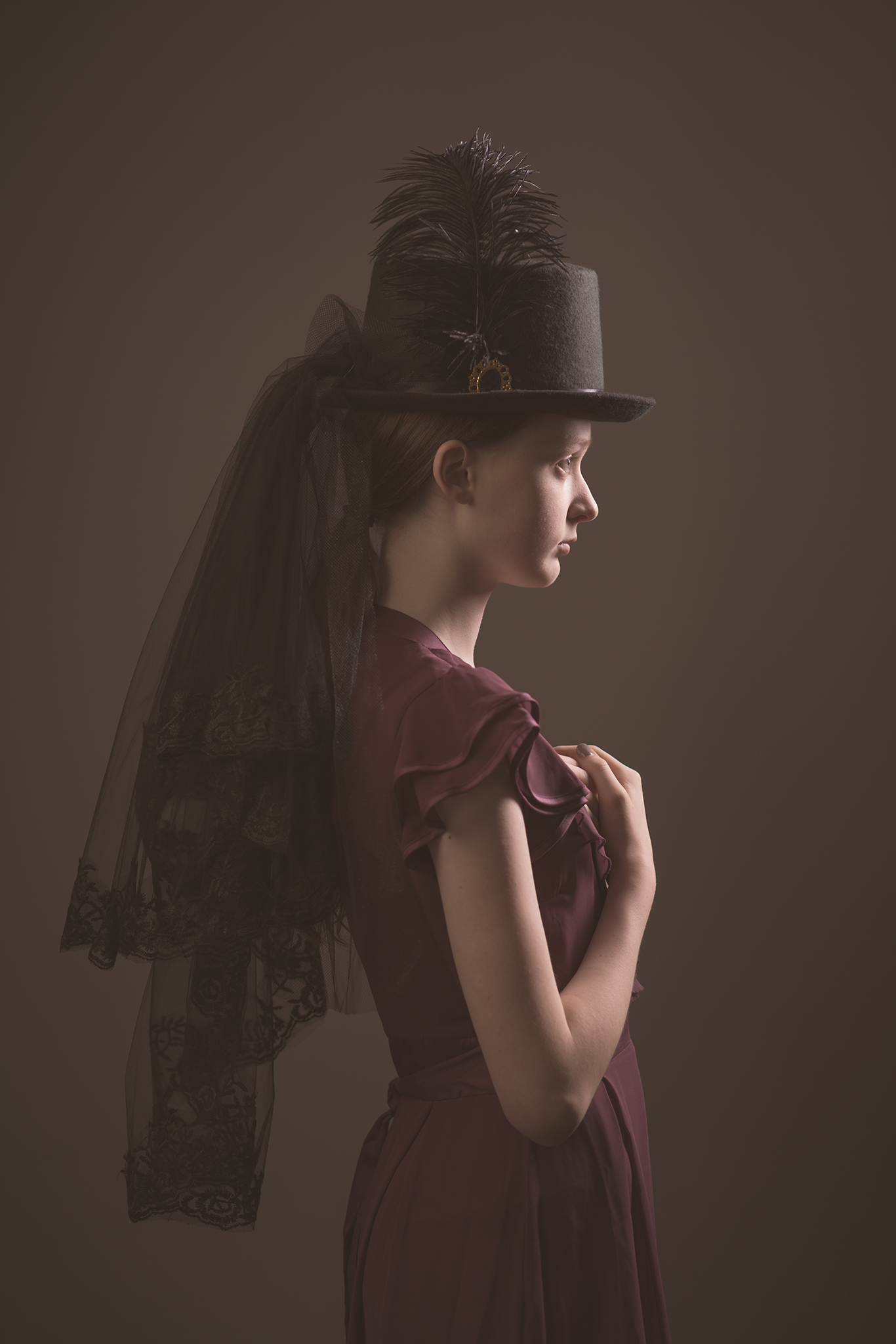 vintage themed model portfolio image in studio by Portrait photographer Preston