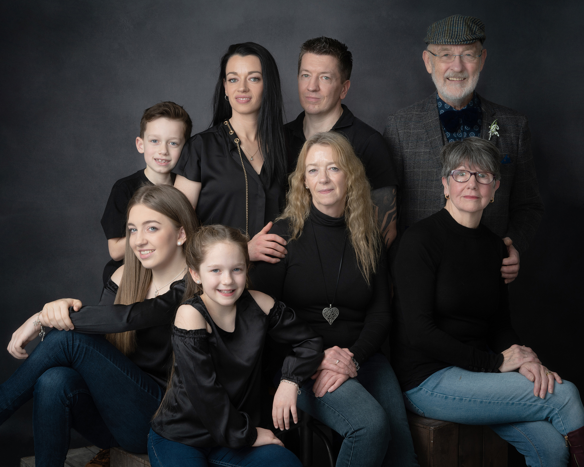 Large family studio photograph with grandparents by Family photographer Lancashire