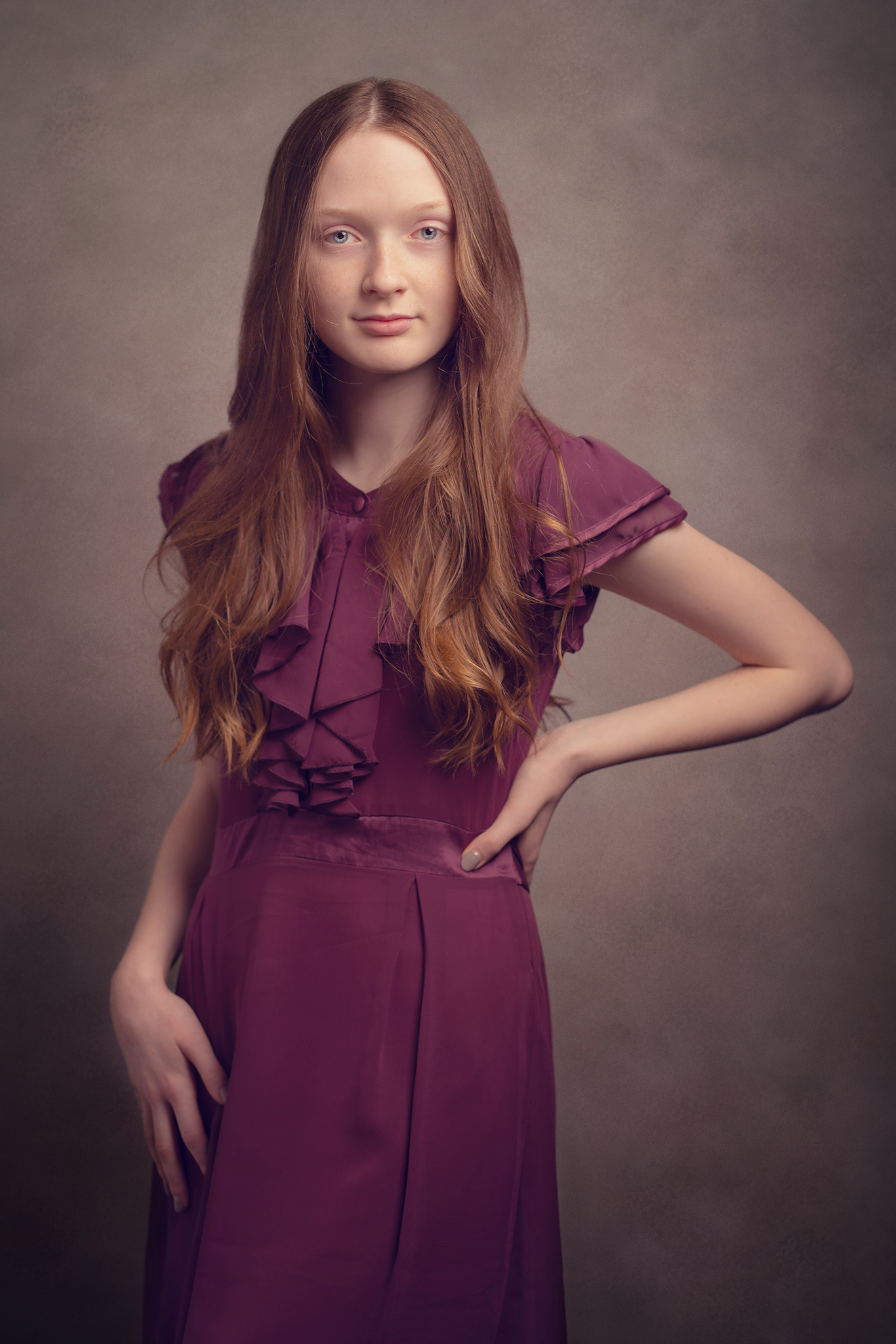 red haired model studio photograph by Portrait photographer Preston