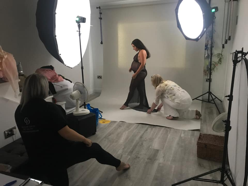 behind the scenes at a maternity photography workshop in the UK
