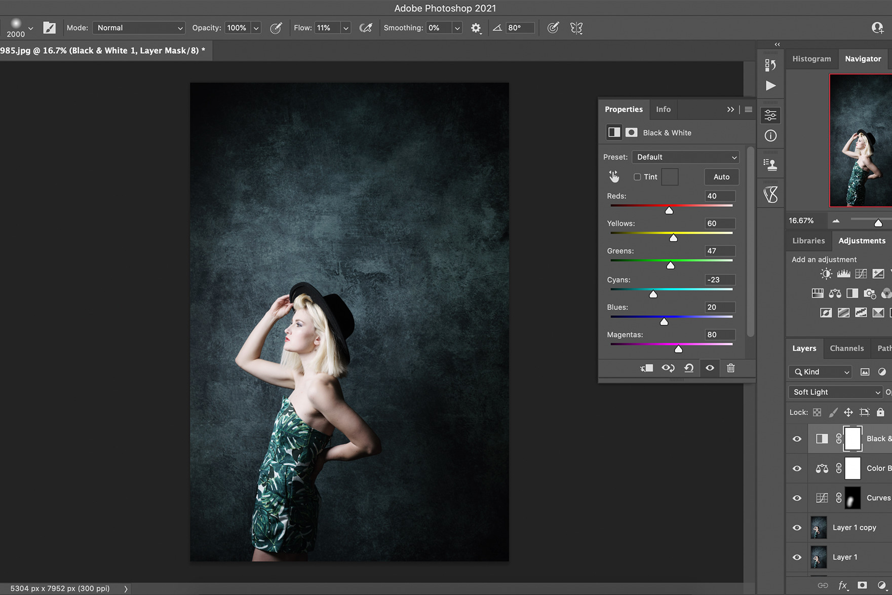 screenshot of photographic portrait being edited