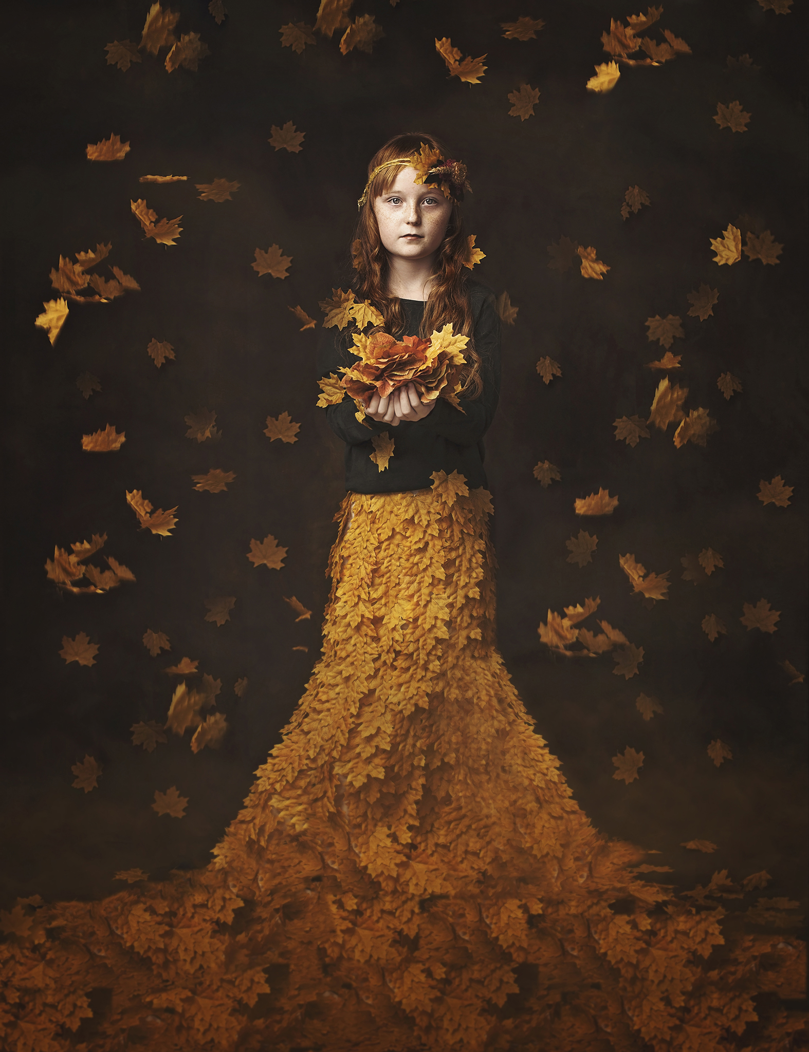 Fine art photography workshop girl in autumn dress with leaves
