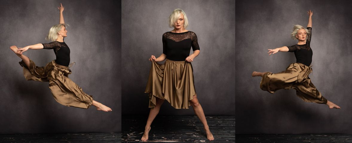 a dancer in a studio photoshoot with how to light dance photography guide